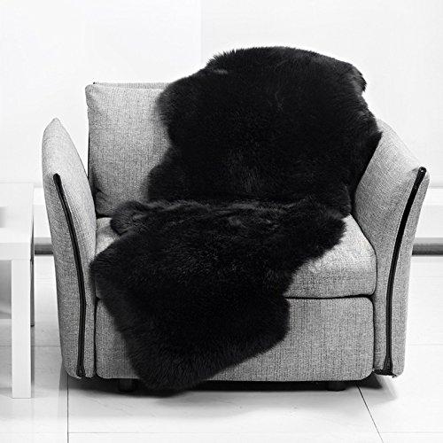 MetU Genuine Australian Sheepskin Rug Soft Faux One Pelt Black Fur for (Baby Alpaca Rug)