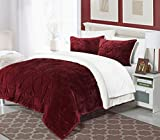 Perfect Home 3 Piece Enzo Pinch Pleated Ruffled and Pintuck Sherpa Lined Queen Bed In a Bag Comforter Set Burgundy