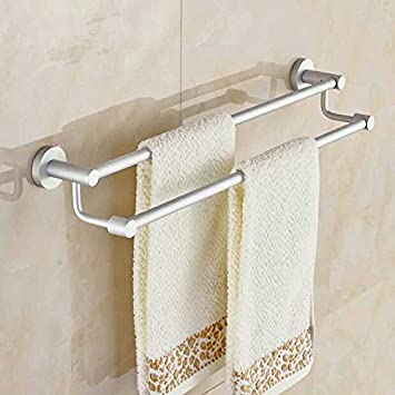 Znzbzt Doble Barra Barra de Toalla de baño toallero toallero Aluminio Espacio baño Toallas de baño Adornos metálicos,60cm Largo: Amazon.es: Hogar
