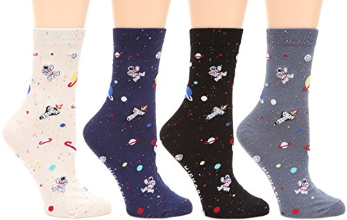 MIRMARU Women's 4 Pairs Famous Painting Art Printed Funny Novelty Casual Cotton Crew Socks. (W-L-028)