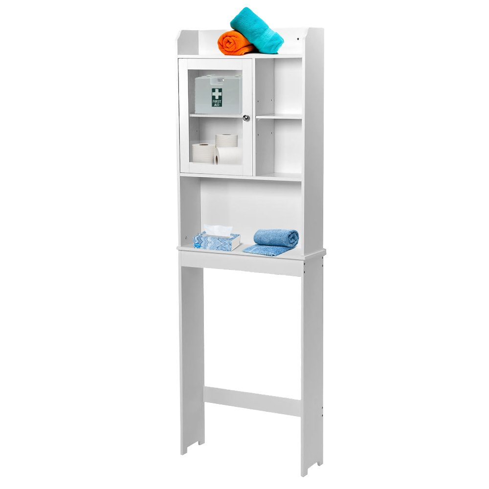 Small Restroom Cabinet White Toilet Cabinet Bathroom Spacesaver Orginzer Storage Shelves Features Two Shelves And Perfect For Storing Towels And Other Bathroom Essentials Dual Doors Conceal
