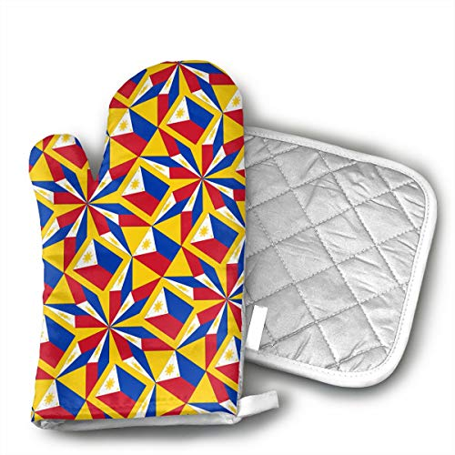 HEPKL Oven Mitts and Potholders Philippines Flag Artascope Flower Non-Slip Grip Heat Resistant Oven Gloves BBQ Cooking Baking Grilling ()