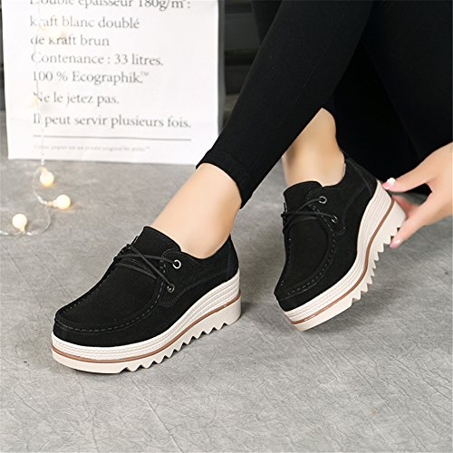 Pictures of HKR Women Lace Up Suede Platform Sneakers 2