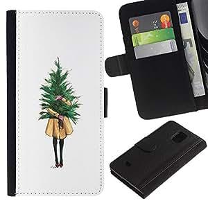 Paccase / Billetera de Cuero Caso del tirón Titular de la tarjeta Carcasa Funda para - Girl Meaning Minimalist Christmas - Samsung Galaxy S5 Mini, SM-G800, NOT S5 REGULAR!