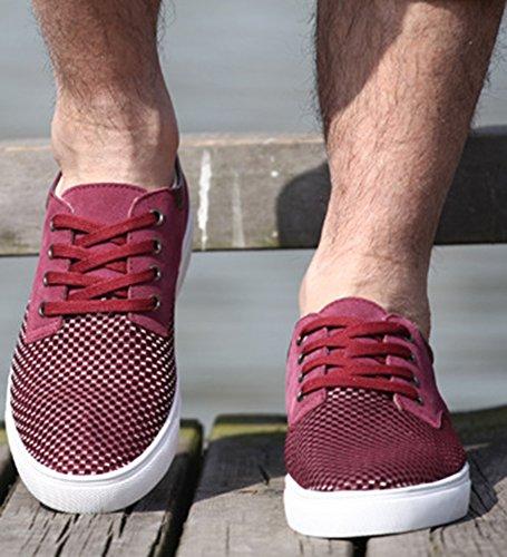 Diffyou Heren Suède Gesplitst Laag Uitgesneden Lace-up Mode Sneakers Paars