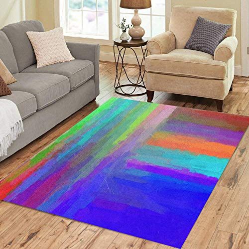 Artist Studio Collection Rug - Semtomn Area Rug 5' X 7' Watercolor Digital Structure of Painting Abstract Lines Oil Paint Home Decor Collection Floor Rugs Carpet for Living Room Bedroom Dining Room