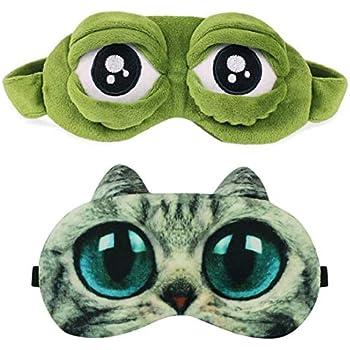 3D Animal Eye Sleep Mask Soft Padded Blindfold Blackout Travel Face Cover FI