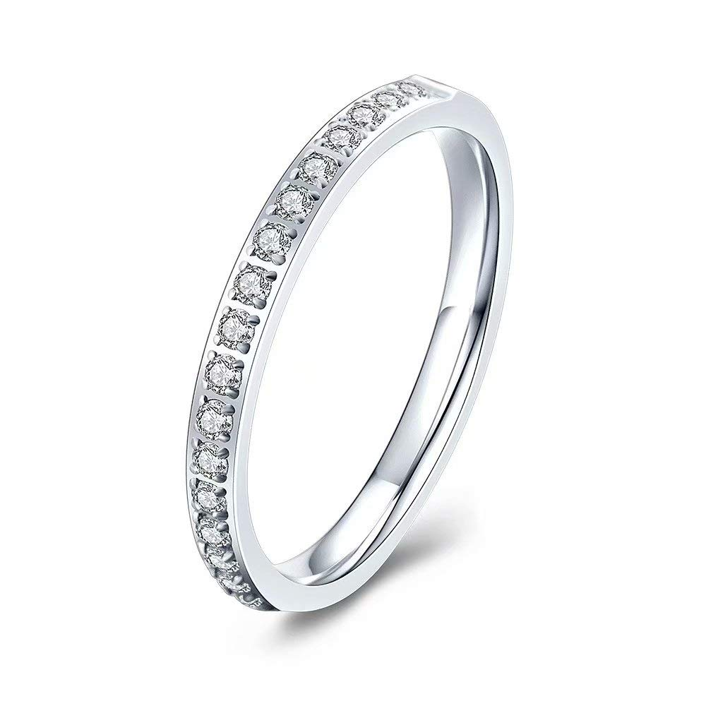 M MOOHAM 2mm Half Eternity Bands Cubic Zirconia Ring Titanium Wedding Bands for Women Size 5 to 10.5