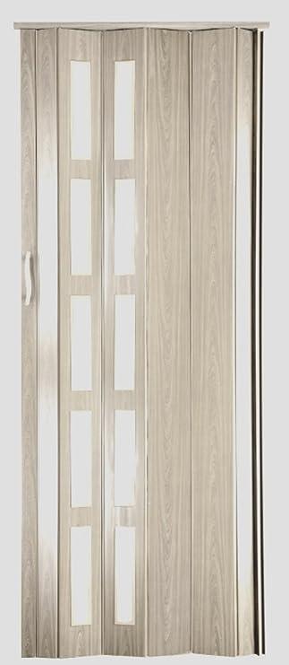 Puerta plegable corredera plástico Puerta roble Sonoma claro con ...