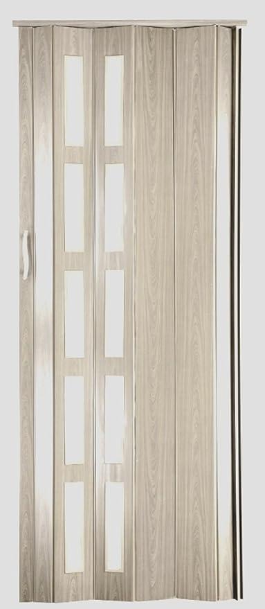 Puerta plegable corredera plástico Puerta roble Sonoma claro con altura 201,5 cm ancho de montaje de ventana de hasta 86 cm Doble pared Perfil nuevo: Amazon.es: Bricolaje y herramientas