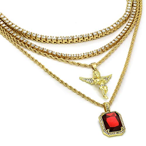 L & L Nation 6 pcs Bundle Set 14k Gold Plated Hip Hop Mini Angel & Red Ruby Pendants with 2 Ropes and 2 Tennis Chains Necklace