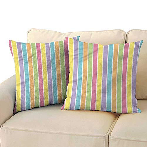Ediyuneth Decorative Pillowcase Throw Pillow Abstract,Colorful Pastel Stripes 18