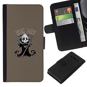 LECELL--Cuero de la tarjeta la carpeta del tirón Smartphone Slots Protección Holder For Samsung Galaxy A3 -- Carino Grim Reaper Skeleton - Hug Me --