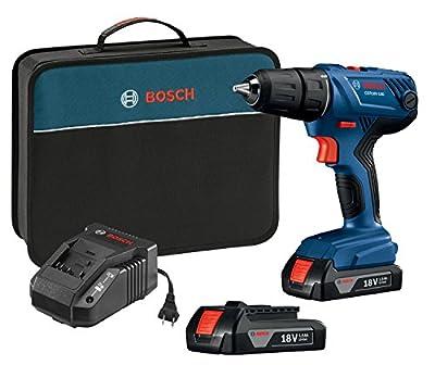 "Bosch GSR18V-190B22 18V Compact 1/2"" Drill/Driver Kit with (2) 1.5 Ah Slim Pack Batteries"