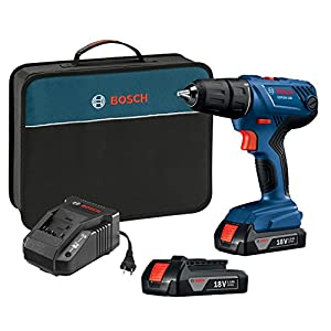 "Bosch GSR18V-190B22 18V Compact 1/2"" Drill/Driver Kit with (2) 1.5 Ah Slim Pack Batteries"