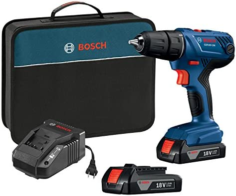 Bosch 18V Compact 1 2 Drill Driver Kit with 2 1.5 Ah Slim Pack Batteries GSR18V-190B22