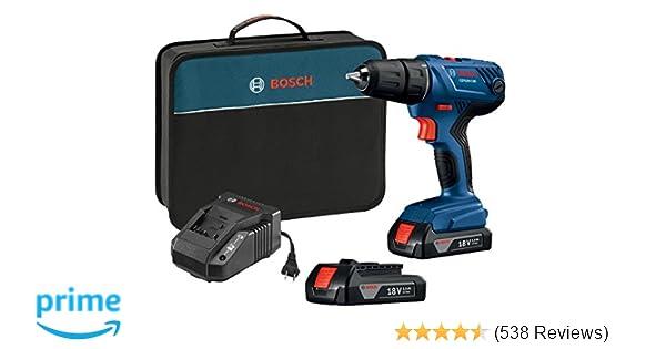 Bosch 18V Compact 1 2 Drill Driver Kit With 15 Ah Slim Pack Batteries GSR18V 190B22