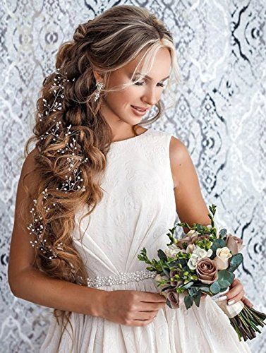 Price comparison product image Unicra Hair Vine Long Shiny headpiece Wedding Bridal Crystal Hair Accessories