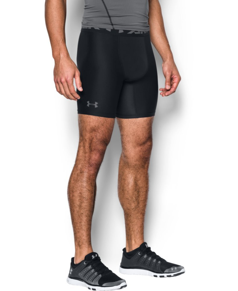 Under Armour Men's HeatGear Armour 2.0 Mid Shorts, Black (001)/Graphite, X-Small