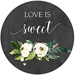 Chalkboard Love is Sweet Favor Stickers, Pretty Wedding Favor Stickers, White Watercolor Flowers, Love is Sweet, Labels, Candy Favors, Thank You, Candy Buffet, Candy Bar, Favor Stickers