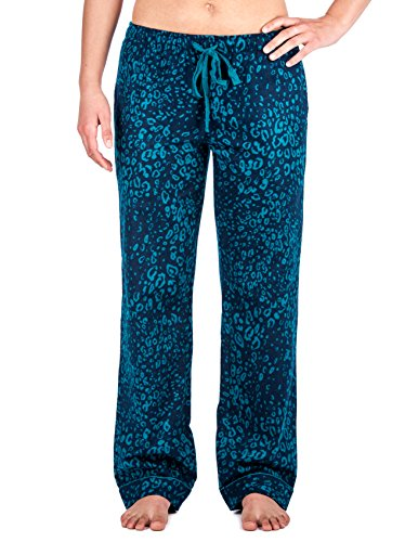 Noble Mount Womens Cotton Flannel Lounge Pants - Leopard Blue - Large (Pants Lounge Leopard)