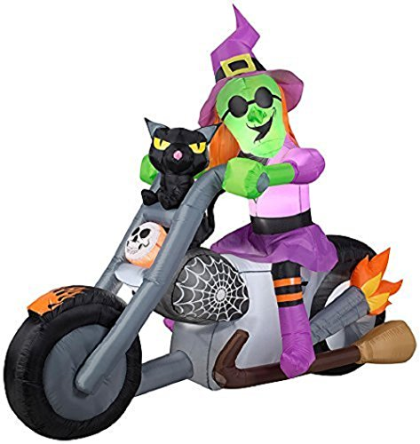 Gemmy Airblown Inflatable Wide Tire Chopper Motorcycle Biker with Witch and Black Cat - Holiday Yard Decorations, 6-foot Long x 5-foot Tall x 2.5-foot Wide