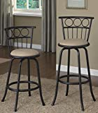 Legacy Decor Black Finish Swivel Barstool with Adjustable Height 24″-29″, Set of 2 Review