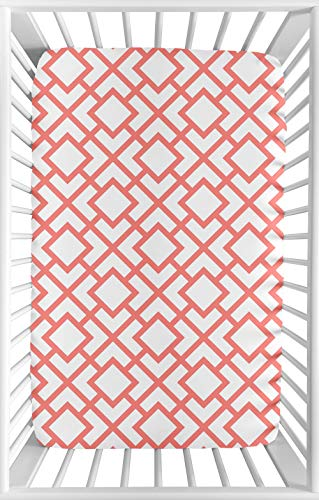 Sweet Jojo Designs White and Coral Baby Girl Fitted Mini Portable Crib Sheet for Mod Diamond Collection - For Mini Crib or Pack and Play ONLY