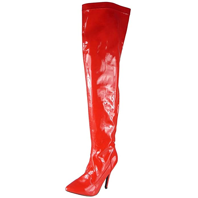 4a67ccecdcd4 Loud Look WOMENS LADIES THIGH HIGH STILETTO HEEL FETISH GOING OUT PUMPS BOOTS  SHOES SIZE  Amazon.co.uk  Shoes   Bags