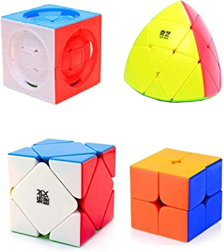 Toy Arena Unique Style Plastic Super Speed MasterMorphix, 2x2, Extract Look, Skewb-Stickerless Cube -Combo Pack of 4