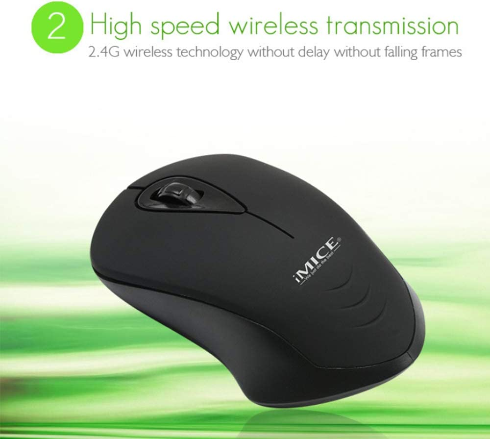 Mac 2.4G Silent Laptop Mouse with Nano Receiver Black Ergonomic Wireless Mouse for Laptop Portable Mobile Optical Mice for Laptop Notebook Upgraded Slim Wireless Mouse PC E-2370 Computer