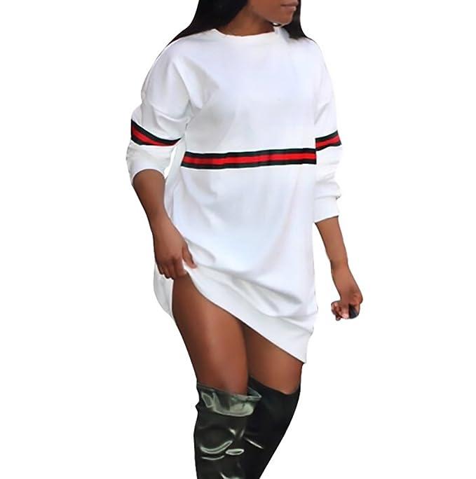 Vestiti Donna Felpe Eleganti Manica Lunga Rotondo Collo Giuntura A Strisce  Corti Abiti Autunno Invernali Hipster 67f617df8c4