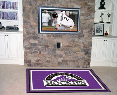 MLB Colorado Rockies 4x6 Rug, Small, Black by Fanmats