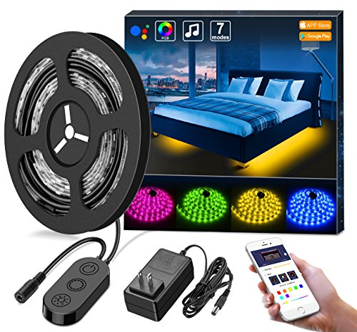 MINGER RGB Under Bed Light Wireless APP Control LED Strip Lights Sync Music, 2×4.92ft IP65 Waterproof Music Rope Lighting, 12V Power Supply Flexible RGB Light Strip, LED Bed Light Bedroom