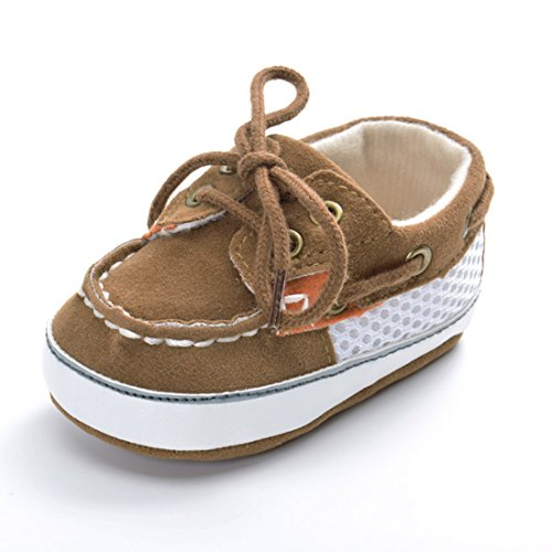 Kimber ❤️ Toddler Boy Shoes Soft Leather Brown Lace Up Sneakers Non-Slip Lint Sole Outdoor Shoes for 6-12 Months Newly Walking Baby Size 5 M ()