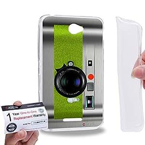 Case88 [Sony Xperia E4 / E4 Dual] Gel TPU Carcasa/Funda & Tarjeta de garantía - Art Drawing Green Retro Old Style Camera