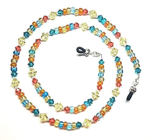 Oceans & Sunset Austrian Crystal Bead Mix Eyeglass Chain Holder