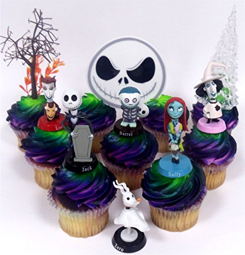 Nightmare Before Christmas 10 Piece Deluxe Cupcake Topper Set Featuring Zero, Barrel, Lock, Shock, Sally, Jack Skellington and Other Decorative Themed Accessories – Cake Topper Figures Range from 2″ to 3″ Tall