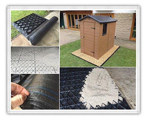 Garden Shed Base Grid 14x 6= Full Eco Kit 4.3m x 1,85m + Heavy Duty Membran Kunststoff ECO Pflastersteine Grundlagen & Auffahrt Raster