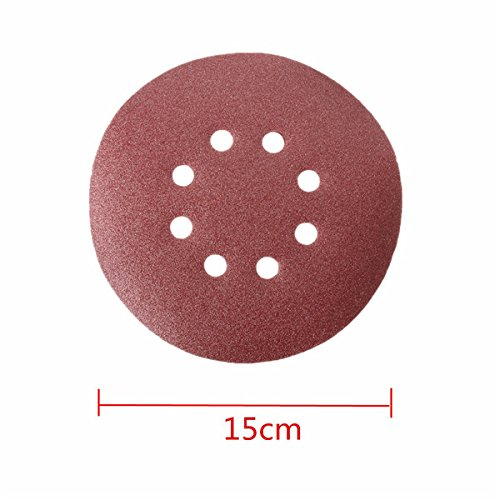 Letbo New 25pcs 5.9 Inch 120 Mesh Sand Paper Abrasive Sanding Discs Sanding Sheet with 8 Holes