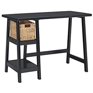 Ashley Furniture Signature Design - Mirimyn Small Home Office Desk - 2 Shelves - Includes Brown Basket - Black