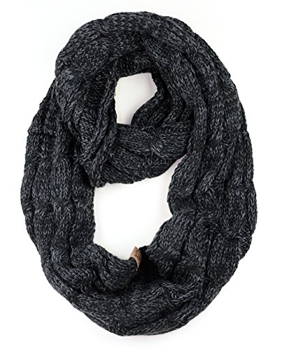 - NYFASHION101 Soft Winter Warm Chunky Knit Cowl Infinity Loop Scarf, Black/Gray