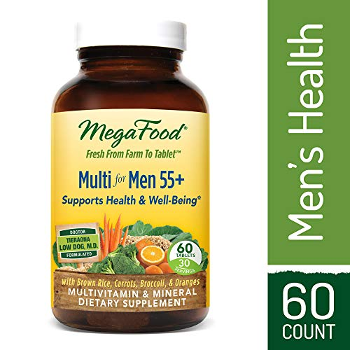 MegaFood - Multi for Men 55+, Multivitamin Support for Energy Production, Brain Function, Prostate and Heart Health with Zinc and Methylated Folate, Vegetarian, Gluten-Free, Non-GMO, 60 Tablets (FFP)