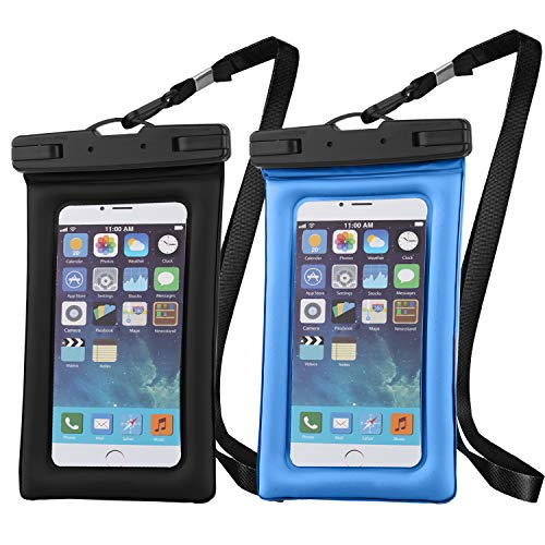 Vetoo Universal Waterproof Case, Floatable Waterproof Phone Pouch Dustproof Dry Cell Phone Bag for iPhone, Samsung Galaxy, Smartphone and Valuables, Stylish & Wearable, Black+Blue