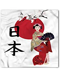 Japan Bandana by Lunarable, Illustration with a Geisha Cherry Blossoms and Kanji Letters Asian Kimono Costume, Printed Unisex Bandana Head and Neck Tie Scarf Headband, 22 X 22 Inches, Multicolor
