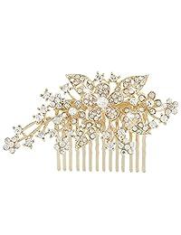Ever Faith Bridal Triple Flower Leaf Clear Austrian Crystal Hair Comb