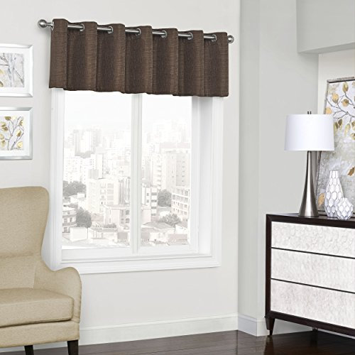 "ECLIPSE 52"" x 18"" Short Valance Small Window Blackout Curtains Bathroom, Living Room, and Kitchens, Chocolate"