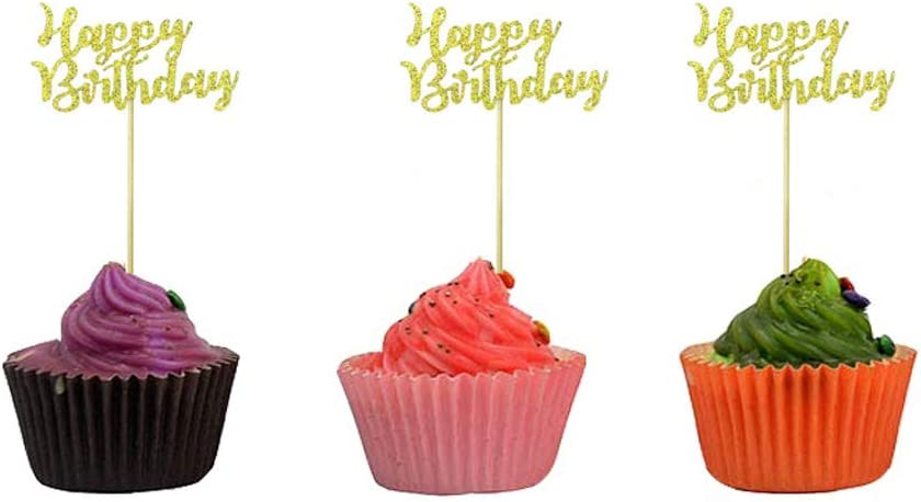 EUyuan 36Pcs Gold Happy Birthday Cupcake Toppers for Birthday Party Decorations