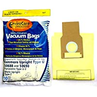 EnviroCare Replacement Vacuum Bags for Kenmore Upright Types U/L/O, 50688 and 50690, Panasonic Type U-2, Miele Type Z. 10 Pack