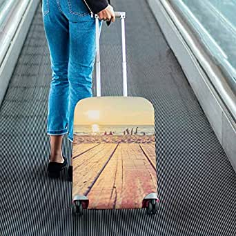 Custom Luggage Protectors Suitcase Covers Fit 26-28 Inch Luggage wooden table at sunset